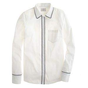 NWT J. Crew Tipped Boy Shirt White Button-Up 6